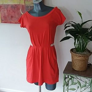 SILENCE & NOISE ANTHRO orange tie back dress small